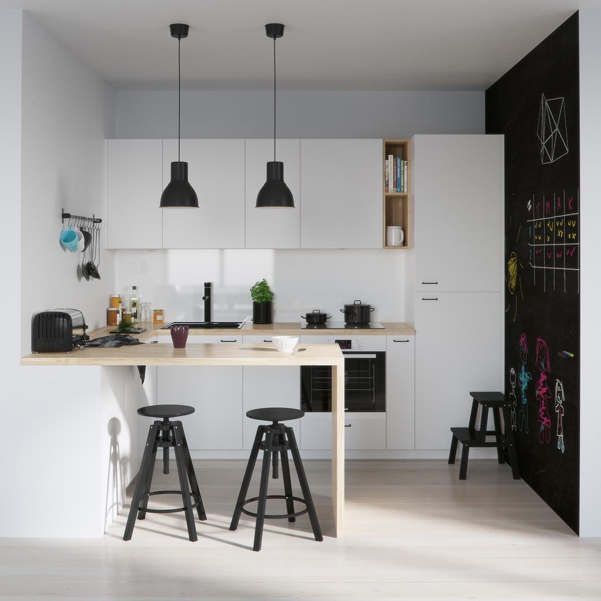 Чёрная грифельная стена в интерьере кухни