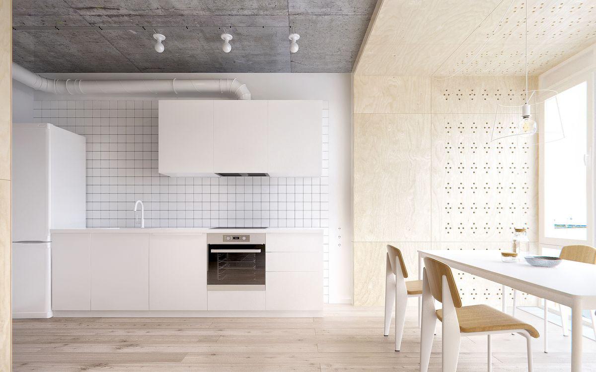 Кухонный фартук из белой плитки в интерьере кухни