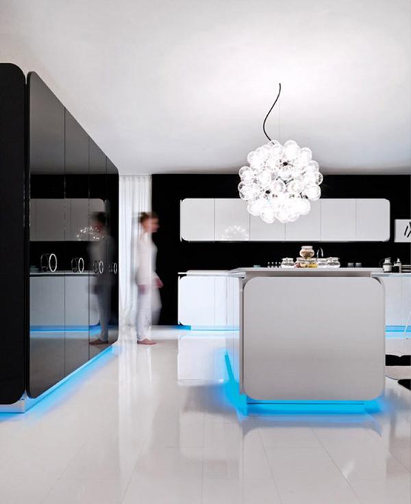 Современная мебель для кухни: оригинальный шарообразный светильник