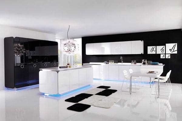 Современная мебель для кухни: белый гарнитур с подсветкой