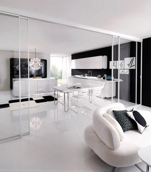 Современная мебель для кухни: белый кухонный остров