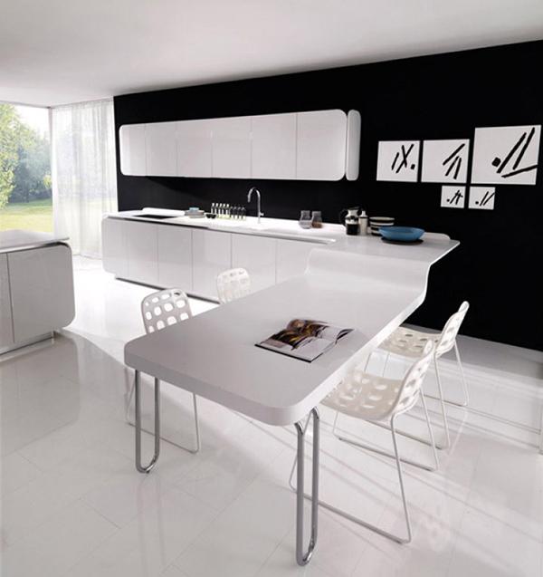 Современная мебель для кухни: кухонный гарнитур с белой фигурной столешницей