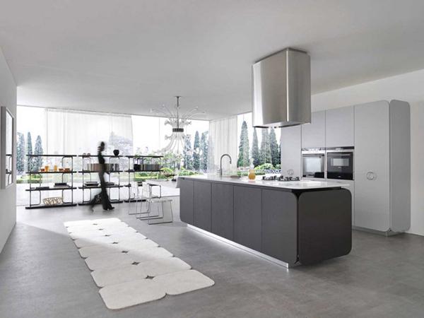 Современная мебель для кухни: серый кухонный остров