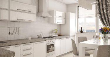 Современный дизайн роскошной белой кухни
