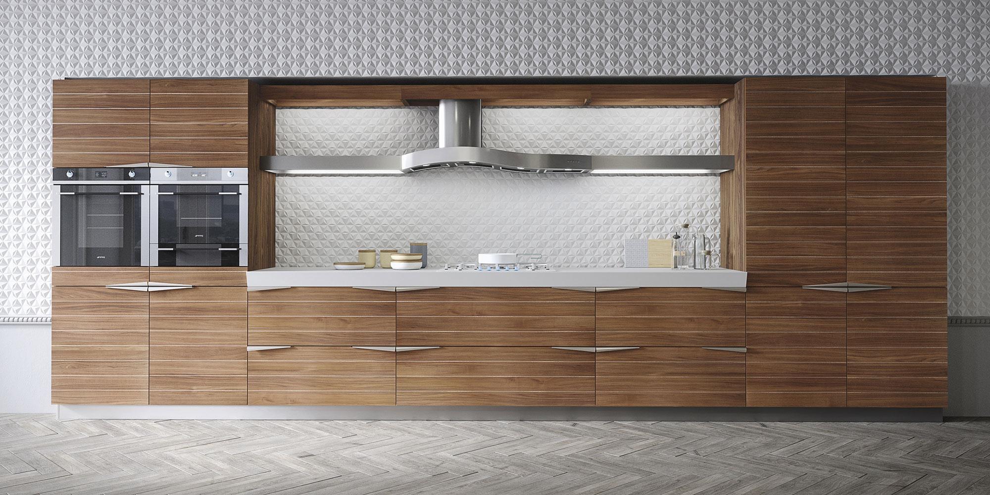 Современный дизайн кухонного гарнитура: встроенная техника