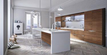 Современный дизайн кухонного гарнитура в белом цвете