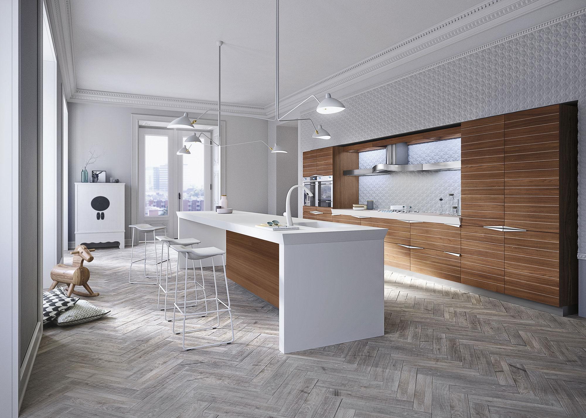 Современный дизайн кухонного гарнитура: необычные светильники над столом
