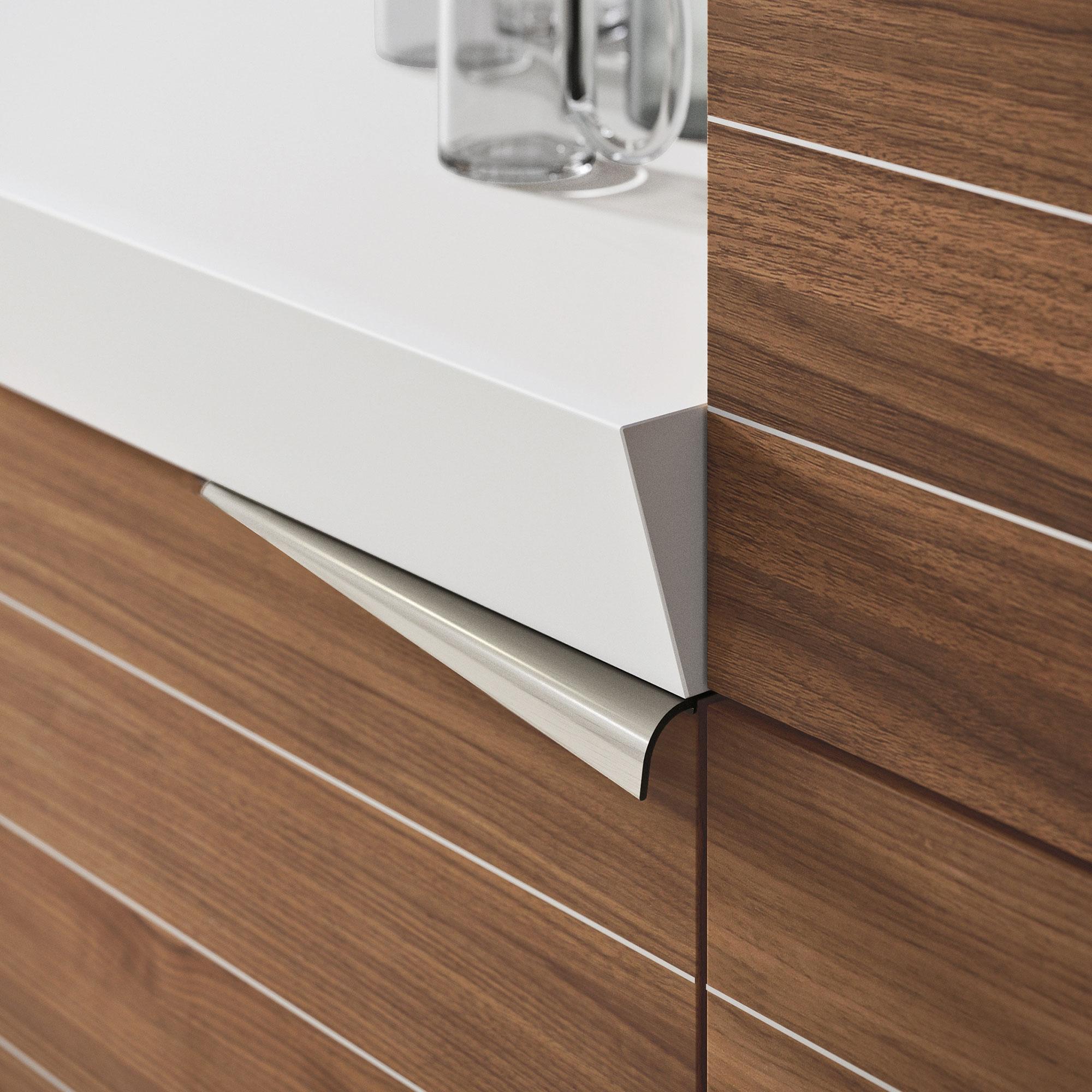 Современный дизайн кухонного гарнитура: стык столешницы со шкафом