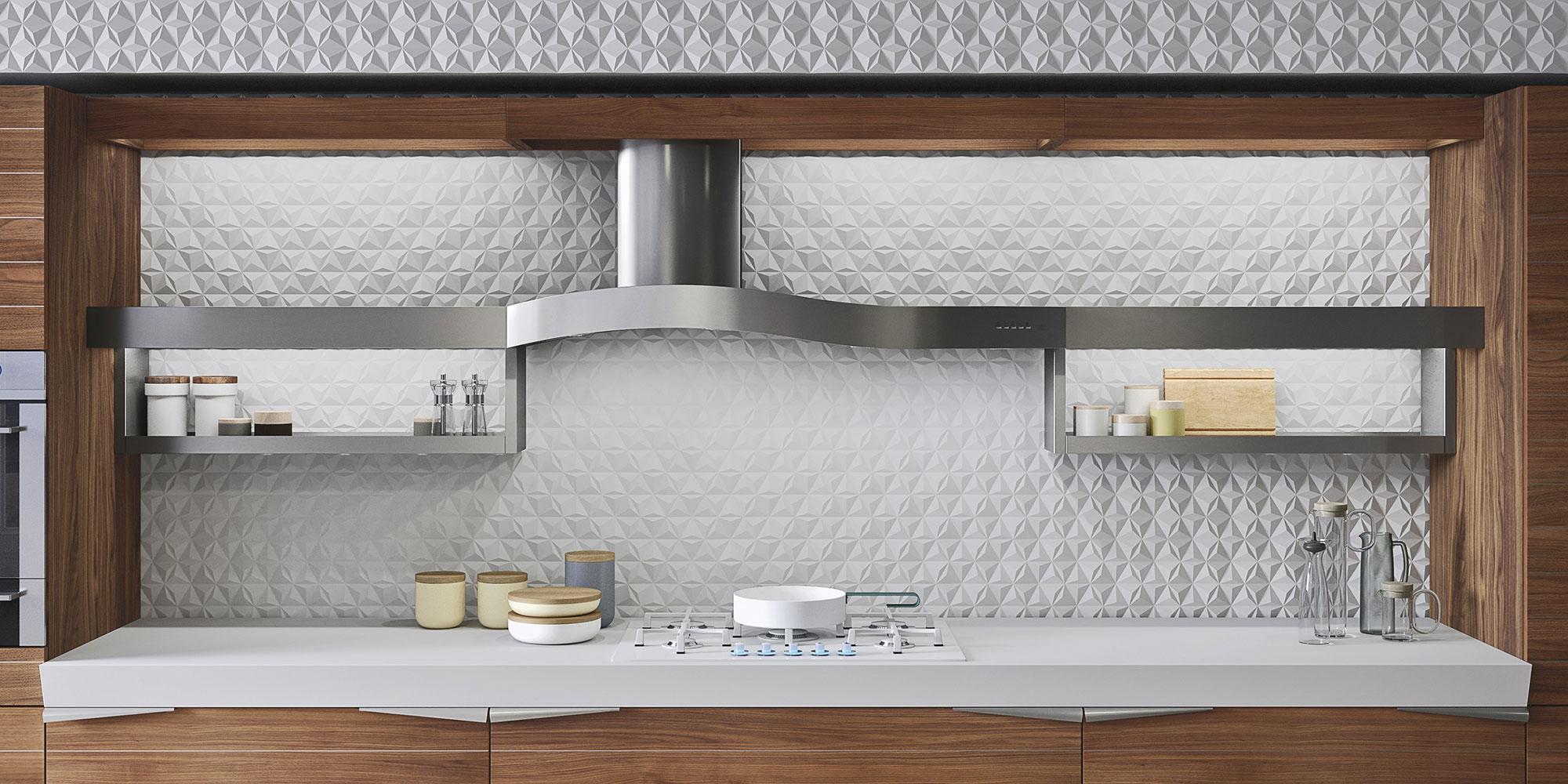 Современный дизайн кухонного гарнитура: вытяжка над плитой