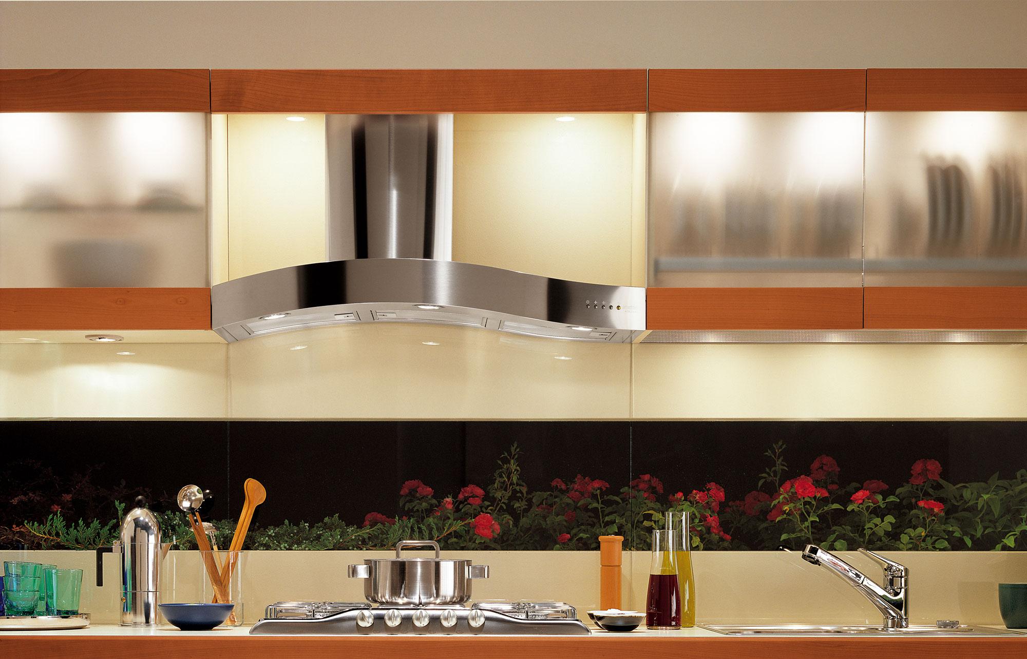 Современный дизайн кухонного гарнитура: фартук с красными цветами