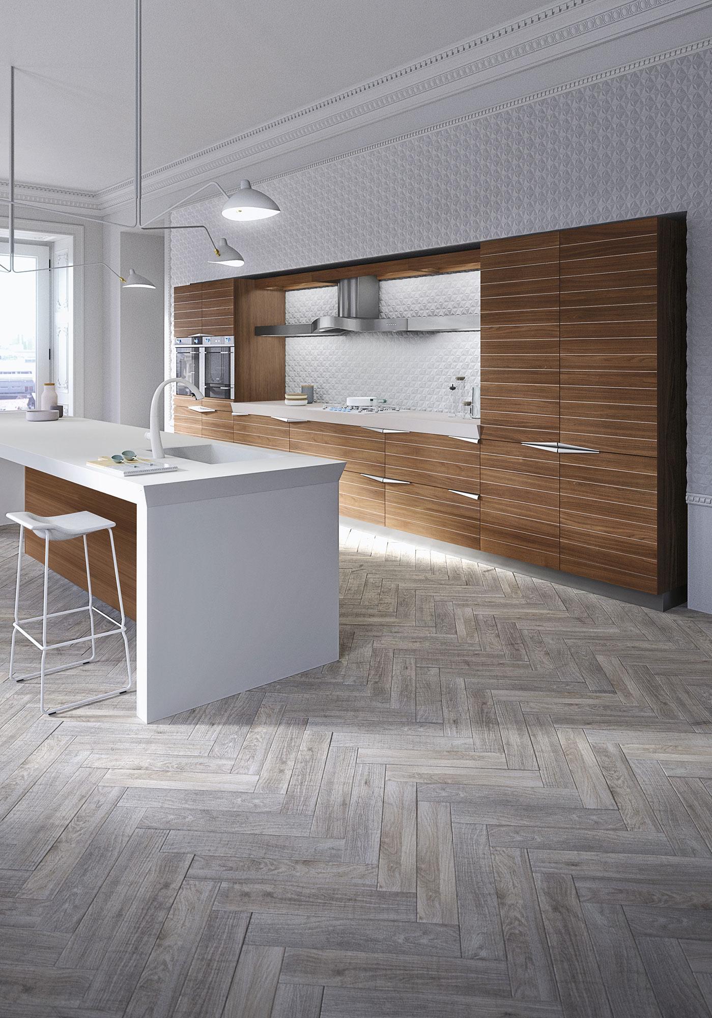 Современный дизайн кухонного гарнитура: белый глянцевый ламинат