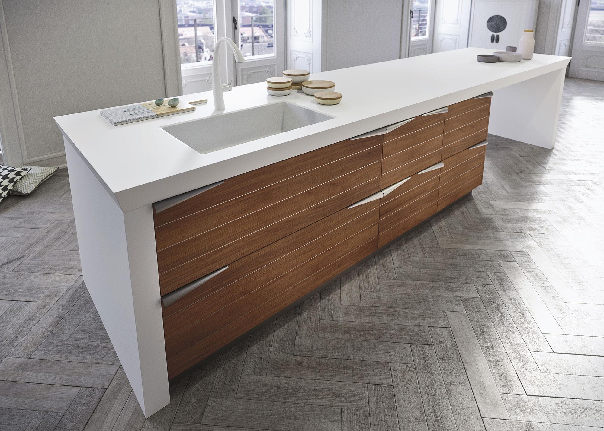 Современный дизайн кухонного гарнитура: белый кухонный остров с раковиной