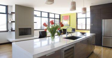 Кухня и современный камин в интерьере: потрясающе реализованные идеи