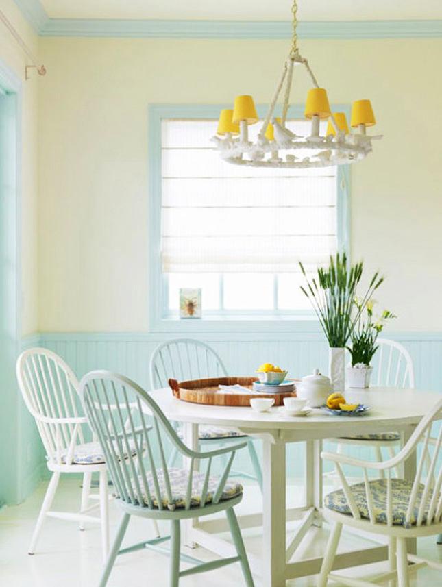 Пастельные цвета столовой