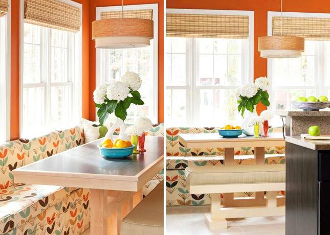 Оранжевый цвет в столовой комнате