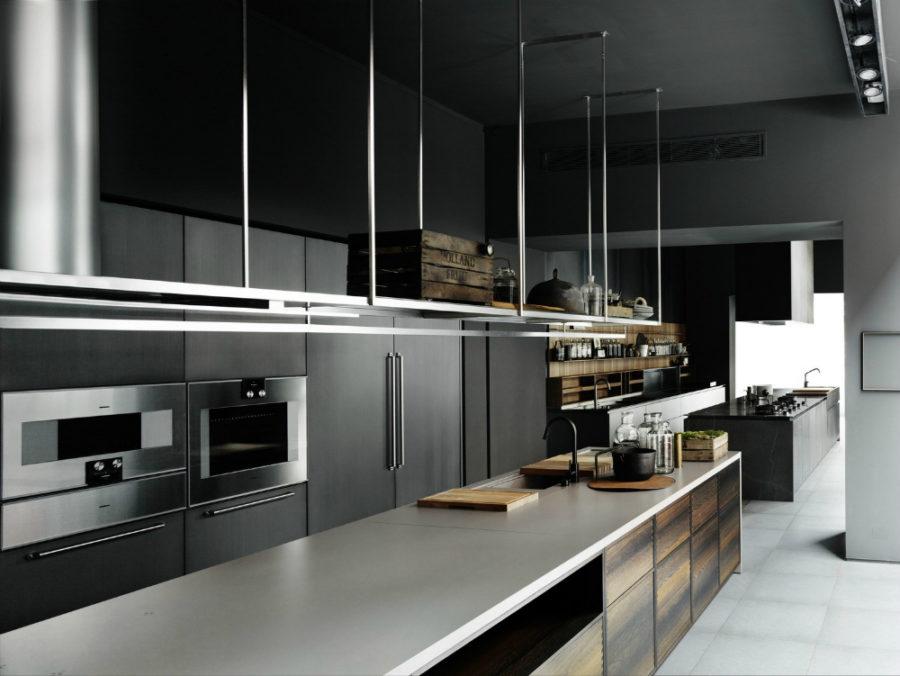 Современные дизайнерские кухни у вас дома - кухня от Boffi с подвесной системой хранения