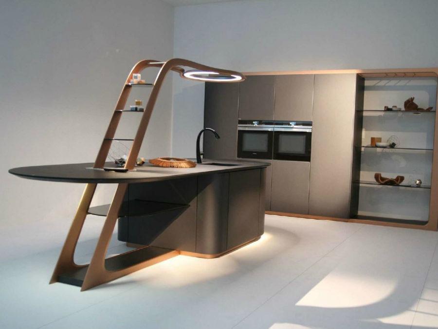 Современные дизайнерские кухни у вас дома - полки в виде лестницы