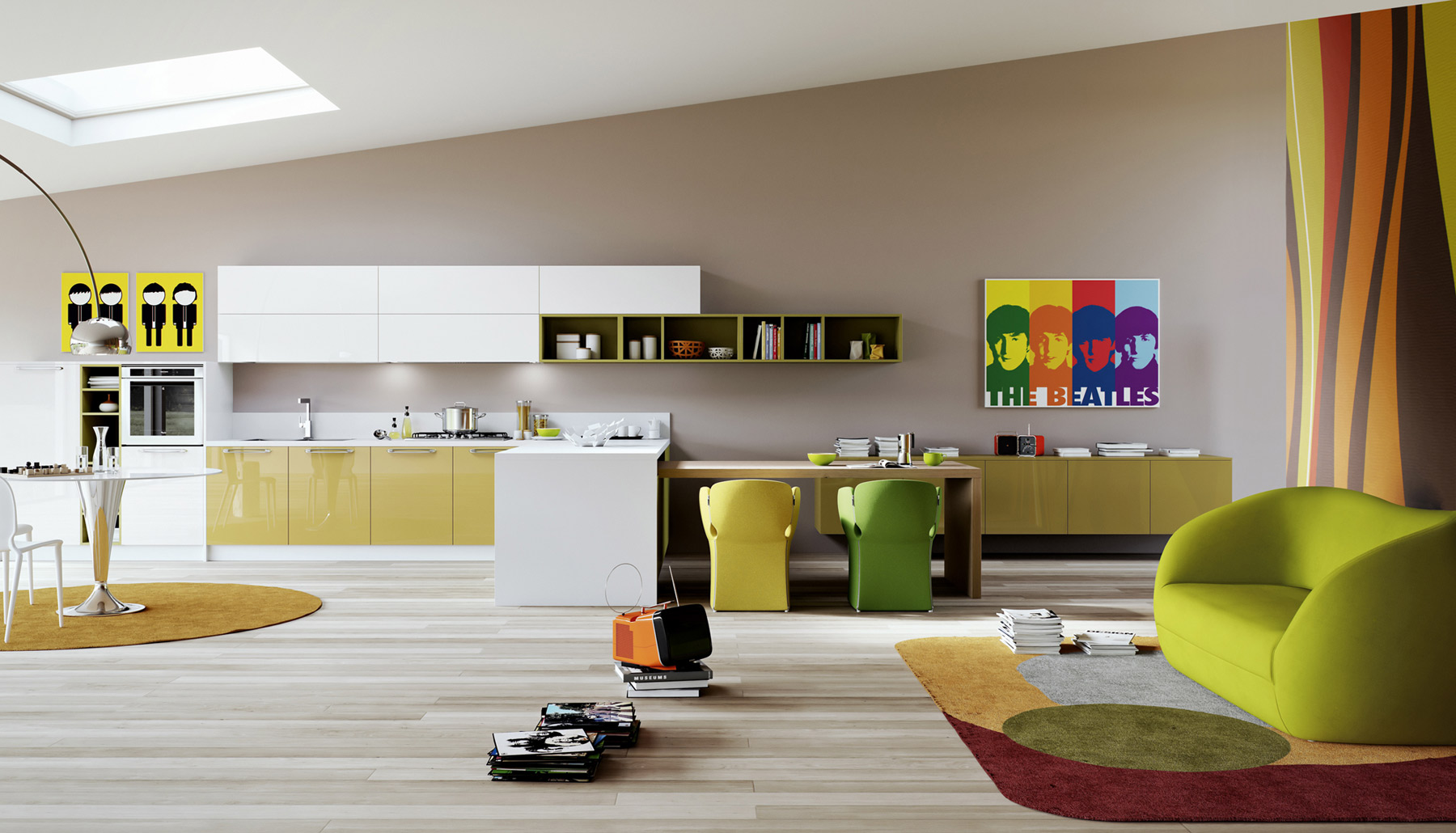 Дизайн бело-жёлтой кухни от Arredo3
