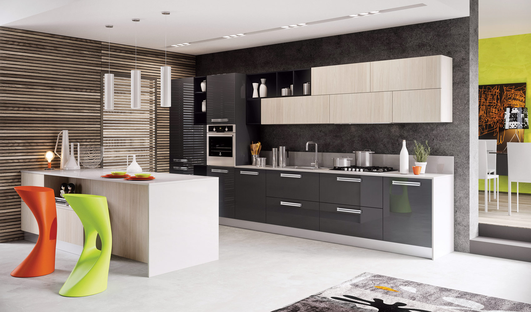 Серый глянцевый гарнитур в интерьере кухни