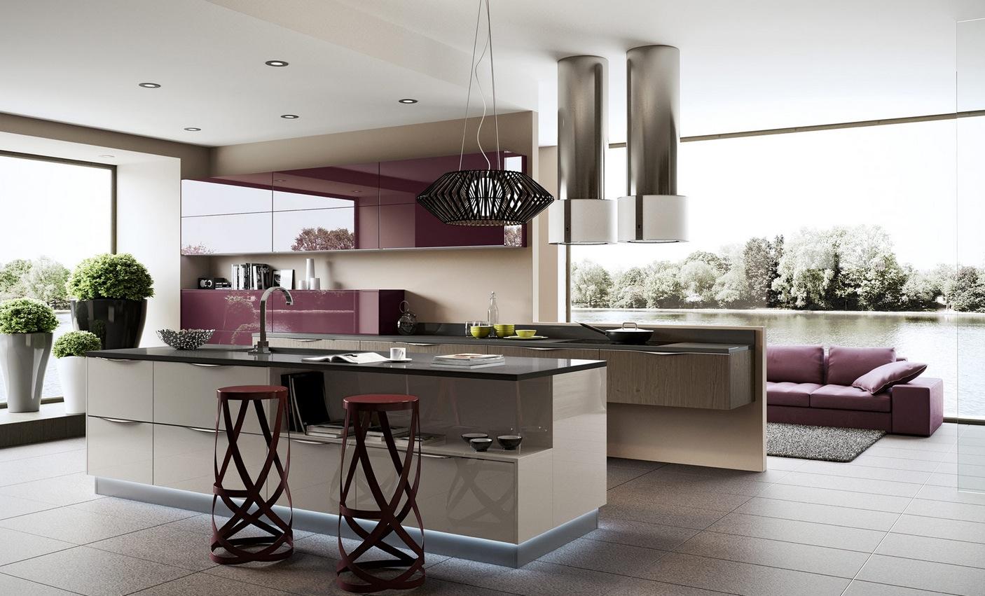 Необычные сиреневые барные стулья в интерьере кухни