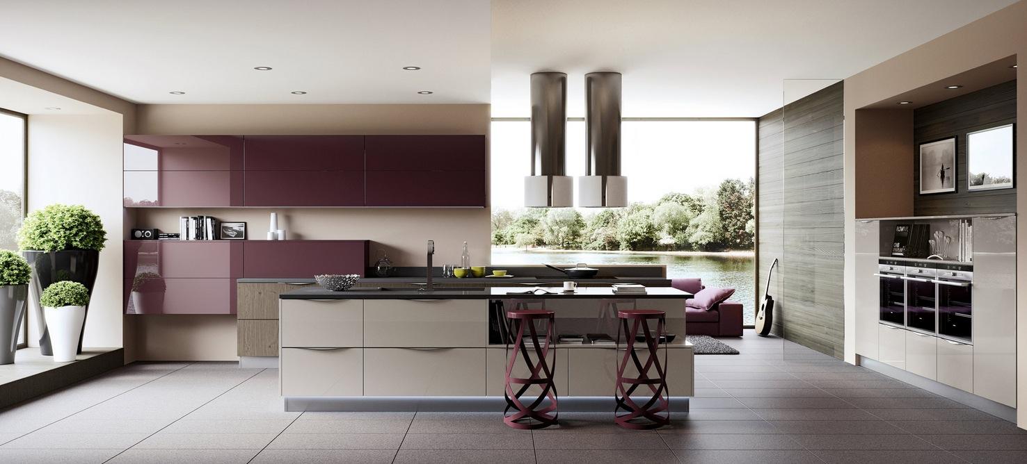 Фиолетовая глянцевая кухни Arredo3