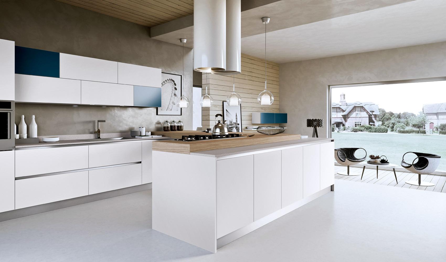 Дизайн белого гарнитура с синими вставками Arredo3
