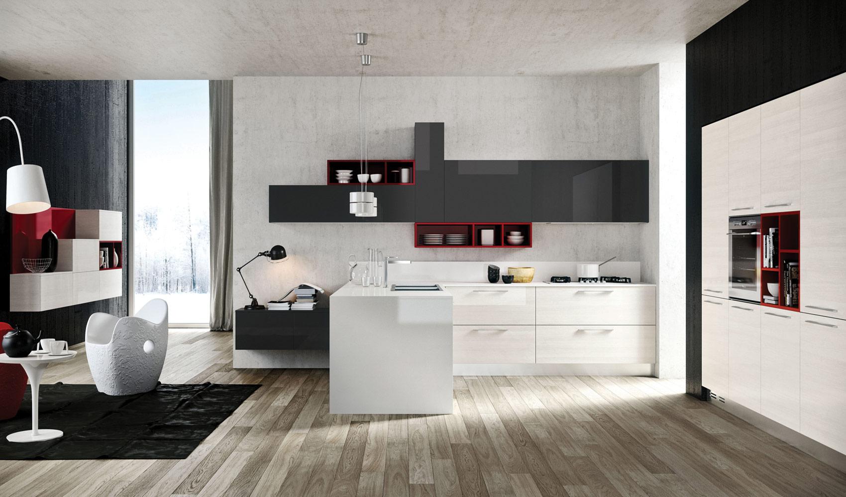 Бело-серый кухонный гарнитур с ярко-красными полками в интерьере