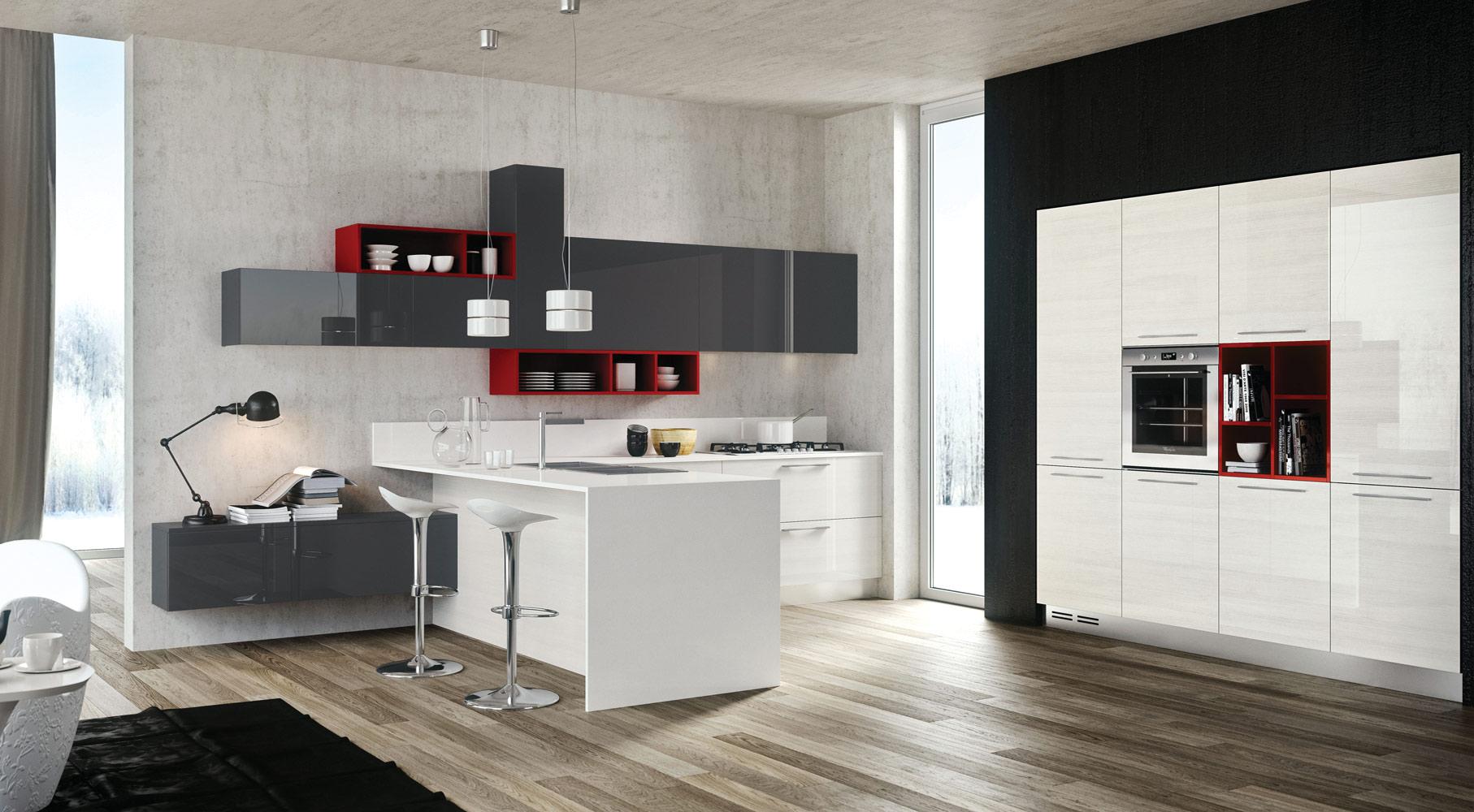 Белые барные стулья на металлической ножке в интерьере кухни