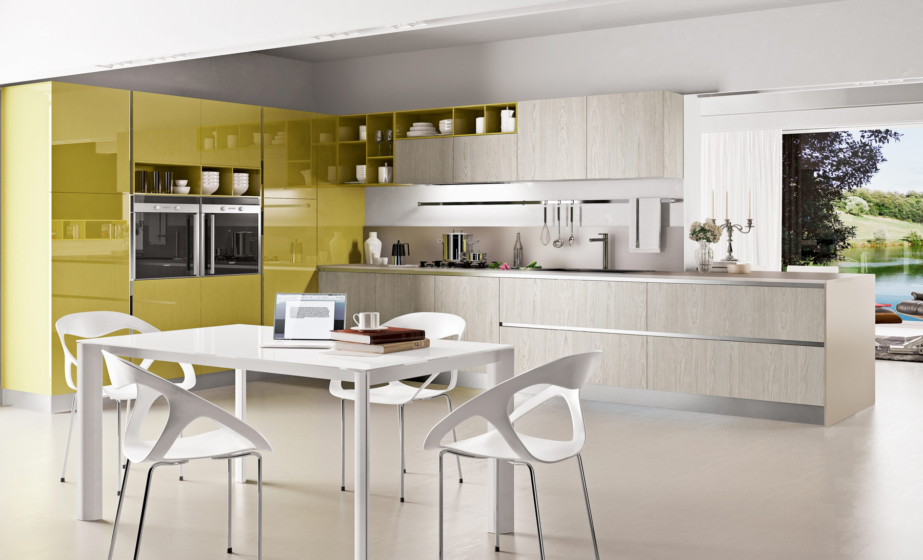Серо-жёлтый гарнитур в интерьере кухни