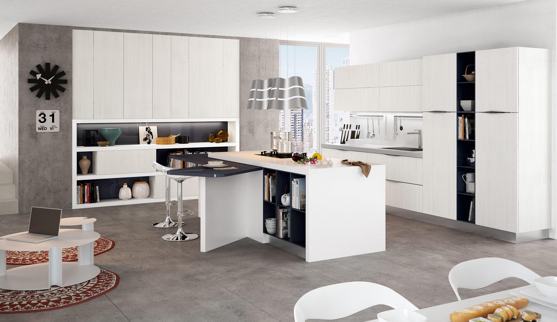 Оригинальная потолочная люстра цвета металлик на кухне