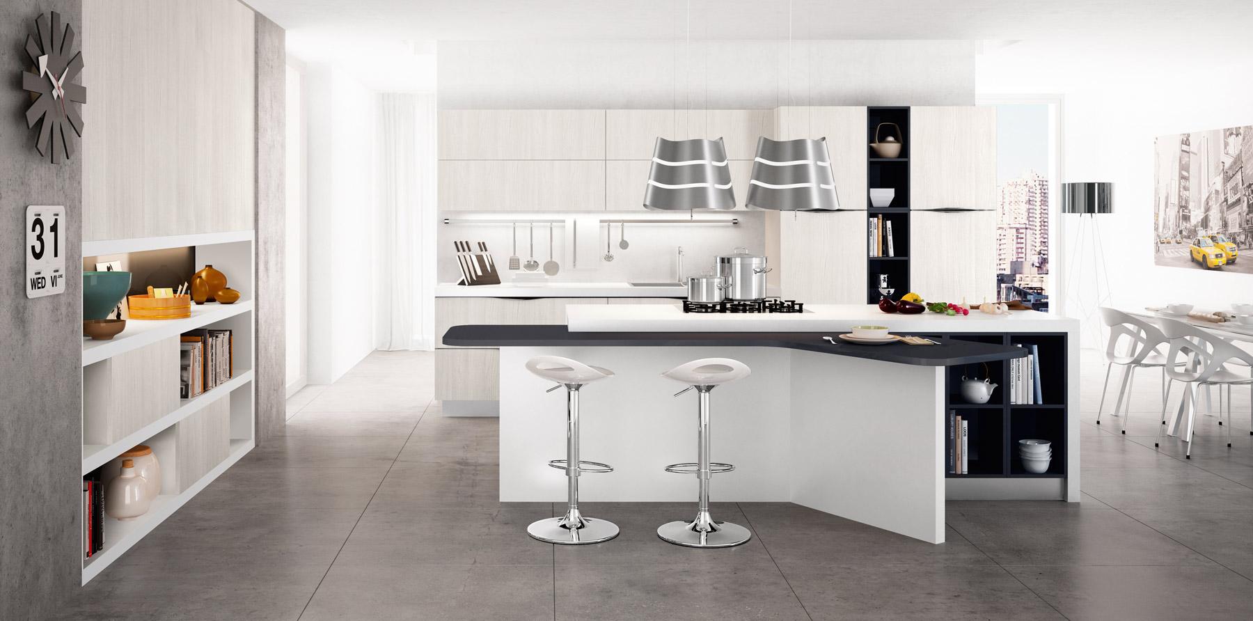 Светлый кухонный остров с чёрно-белой столешницей в интерьере кухни