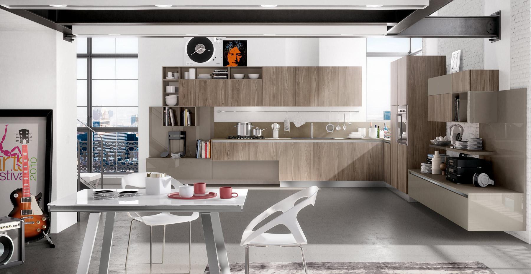 Дизайн бежевого кухонного гарнитура Arredo3 в интерьере