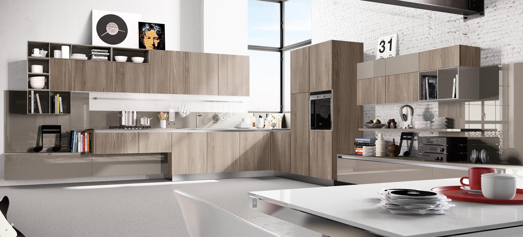 Светлый интерьер кухни с белой кирпичной кладкой
