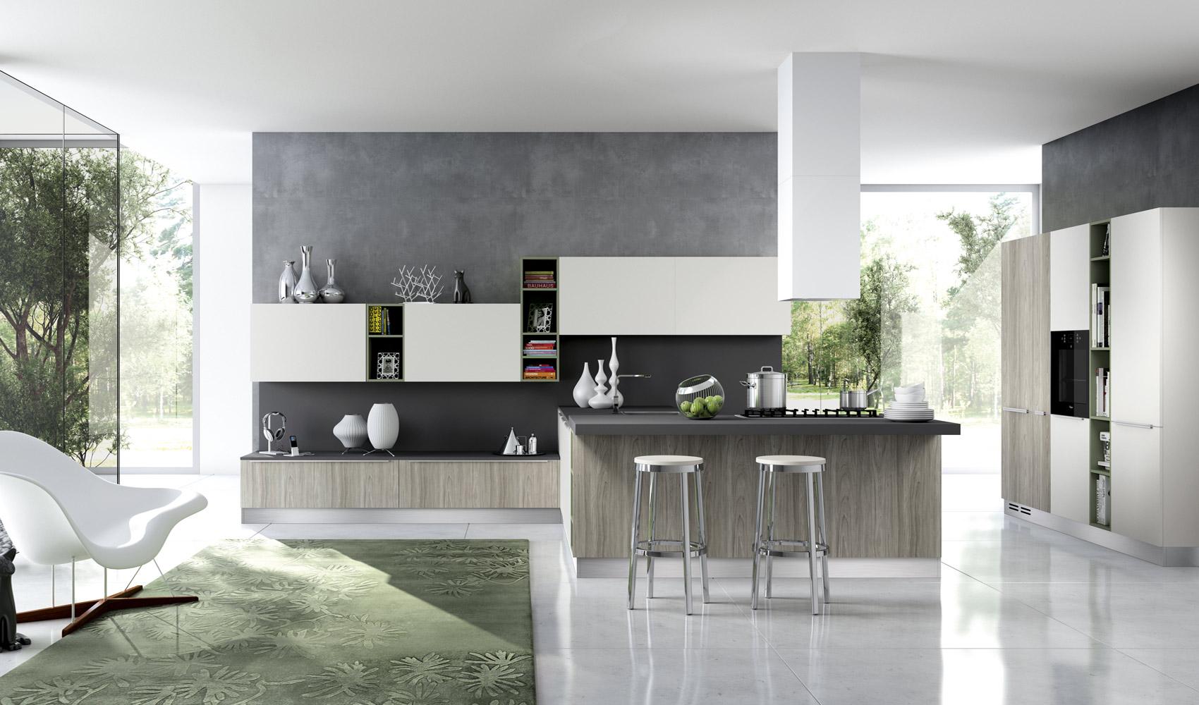 Зелёный ковёр в интерьере кухни