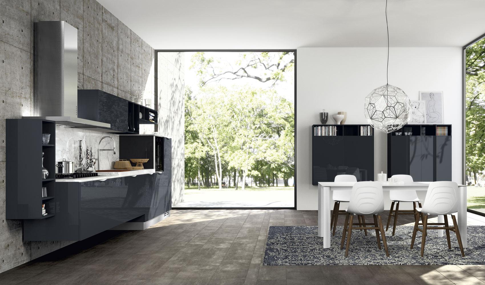 Серая бетонная стена в интерьере кухни