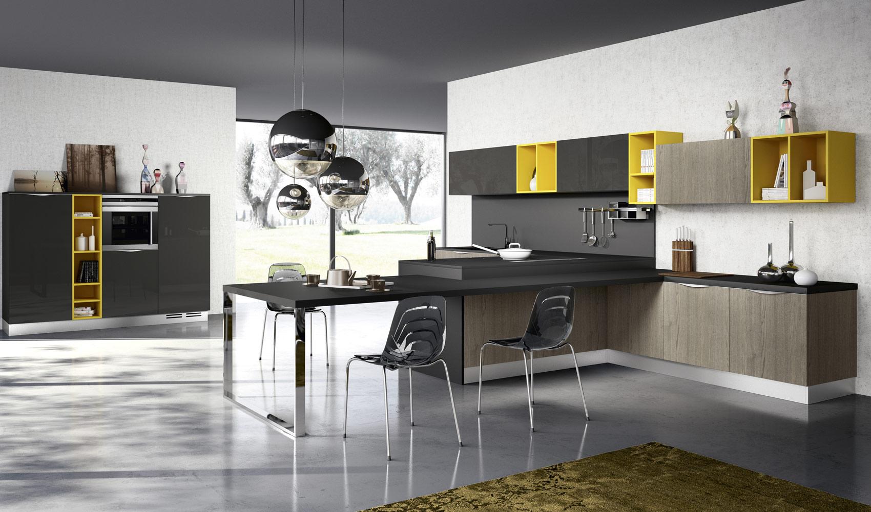 Серый кухонный гарнитур Arredo3 с ярко-жёлтыми вставками
