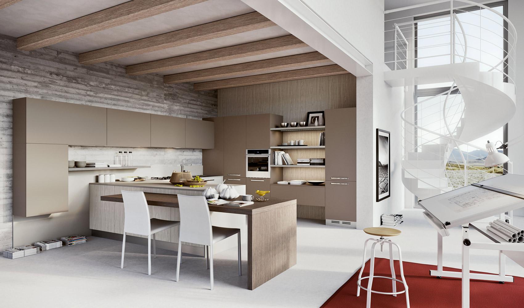 Деревянные потолочные балки в интерьере кухни