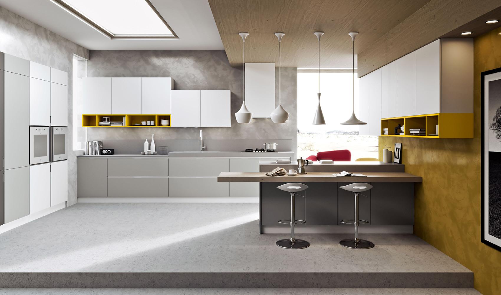 Разнообразной формы белые светильники в интерьере кухни