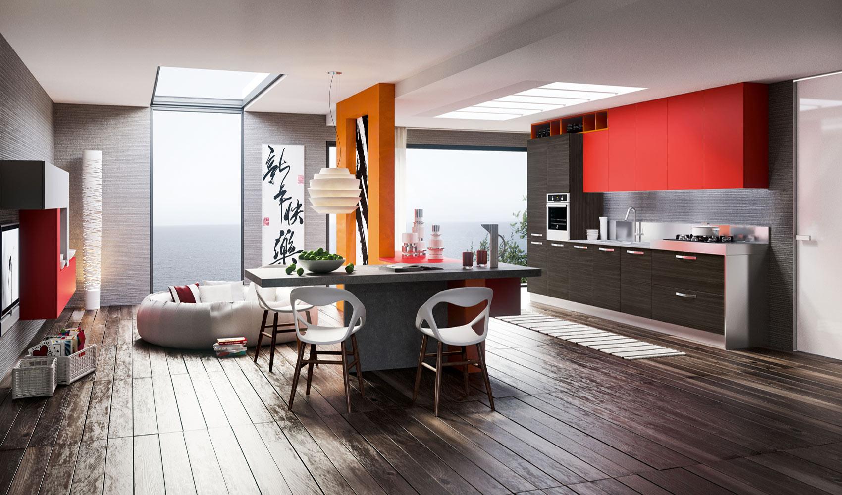 Ярко-красные шкафчики Arredo3 в интерьере кухни