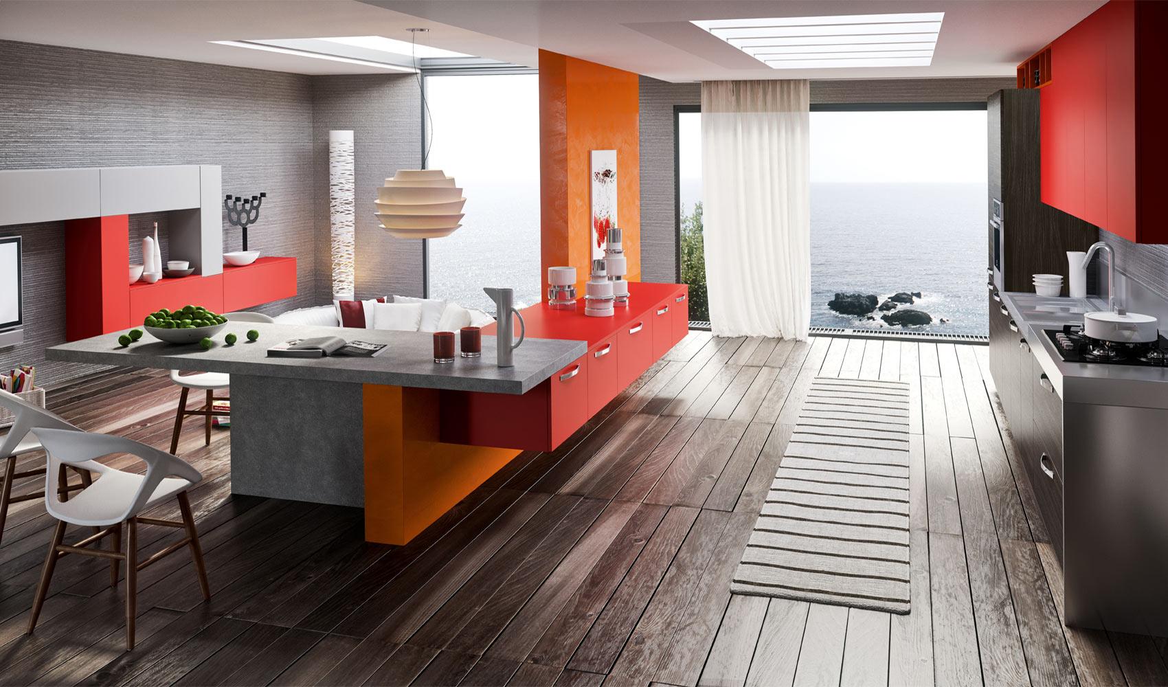 Серые и оранжевые стены в интерьере кухни