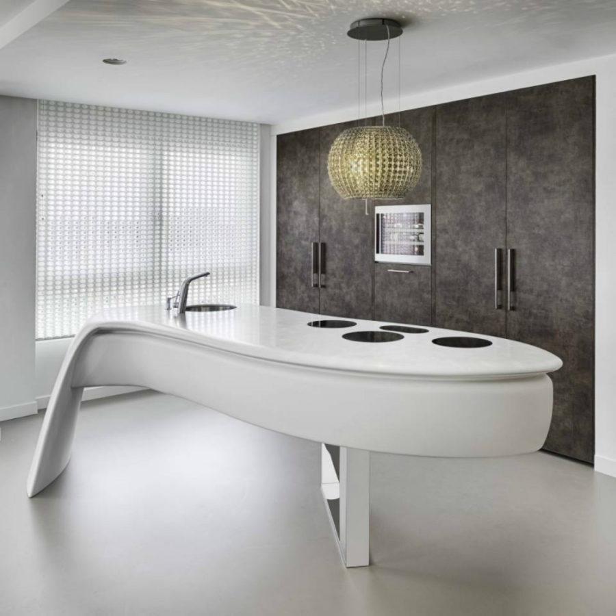 Современные тенденции в дизайне кухни в вашем доме - кухонный остров необычной формы
