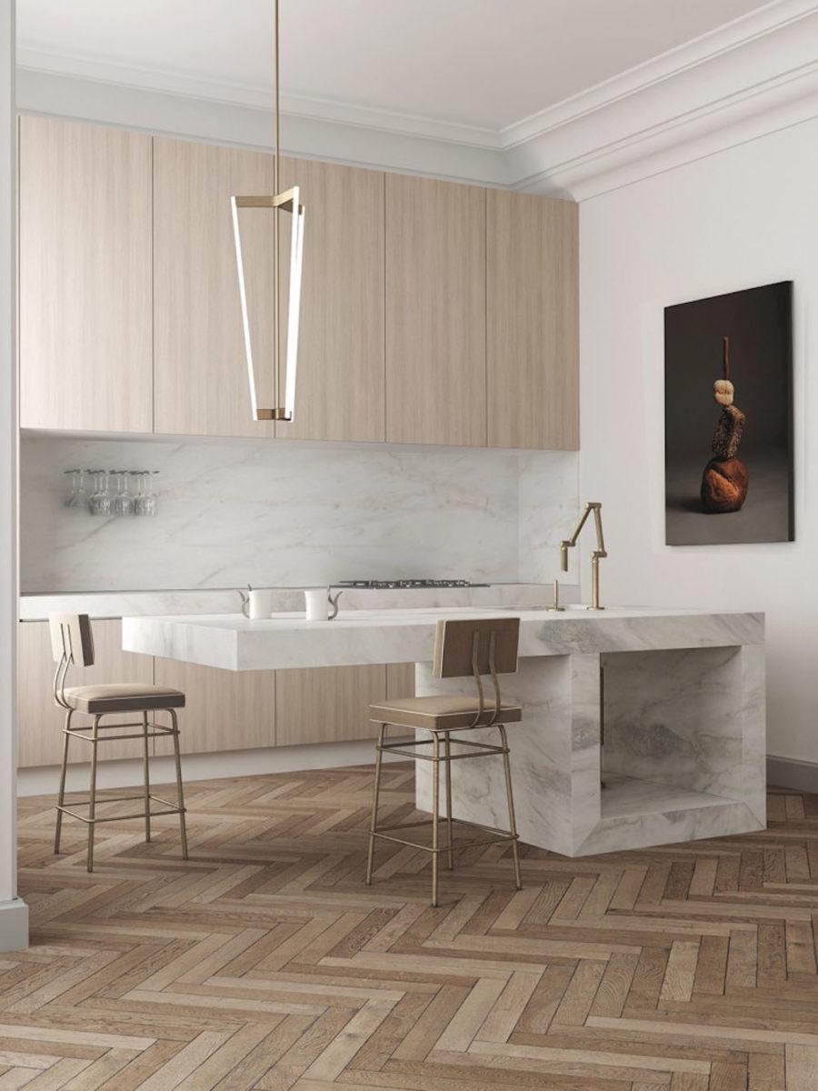 Современные тенденции в дизайне кухни в вашем доме - кухонный остров из мрамора