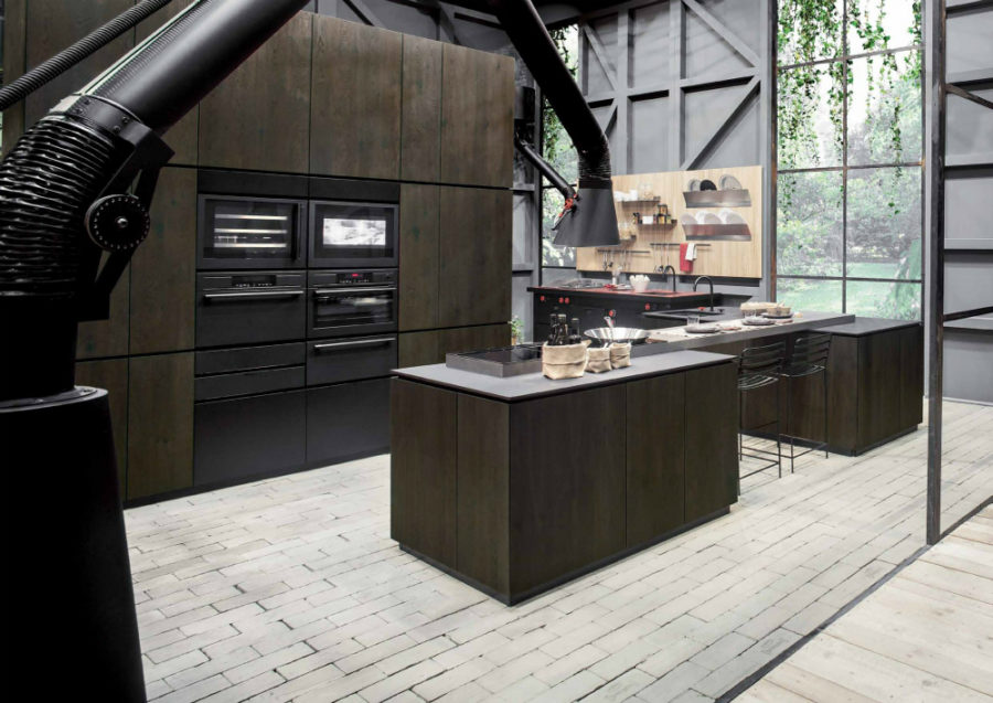 Современные тенденции в дизайне кухни в вашем доме - напольная вытяжка Mammut