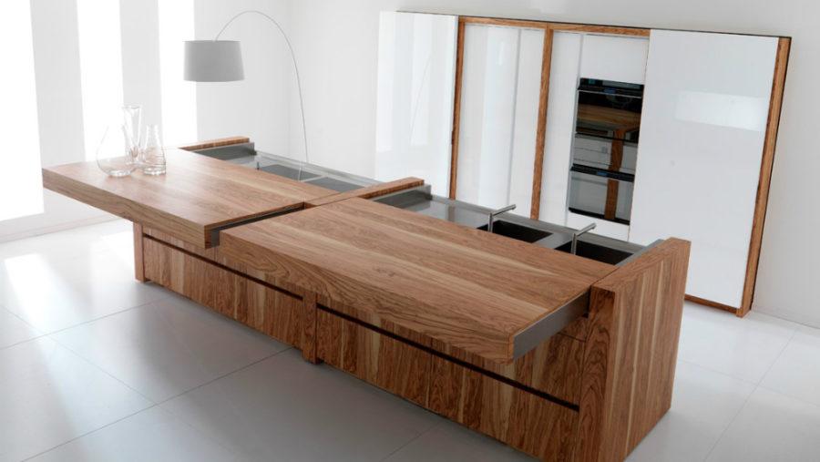 Современные тенденции в дизайне кухни в вашем доме - кухонный остров с раздвижным столом