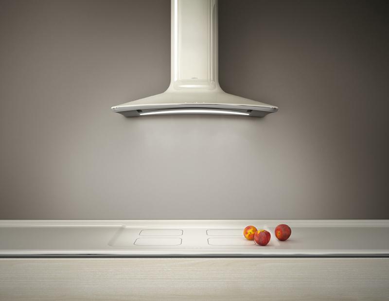 Современные вытяжки для кухни: дизайн в белом цвете