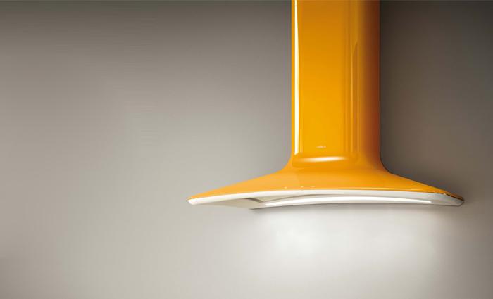 Современные вытяжки для кухни: жёлтый вариант дизайна