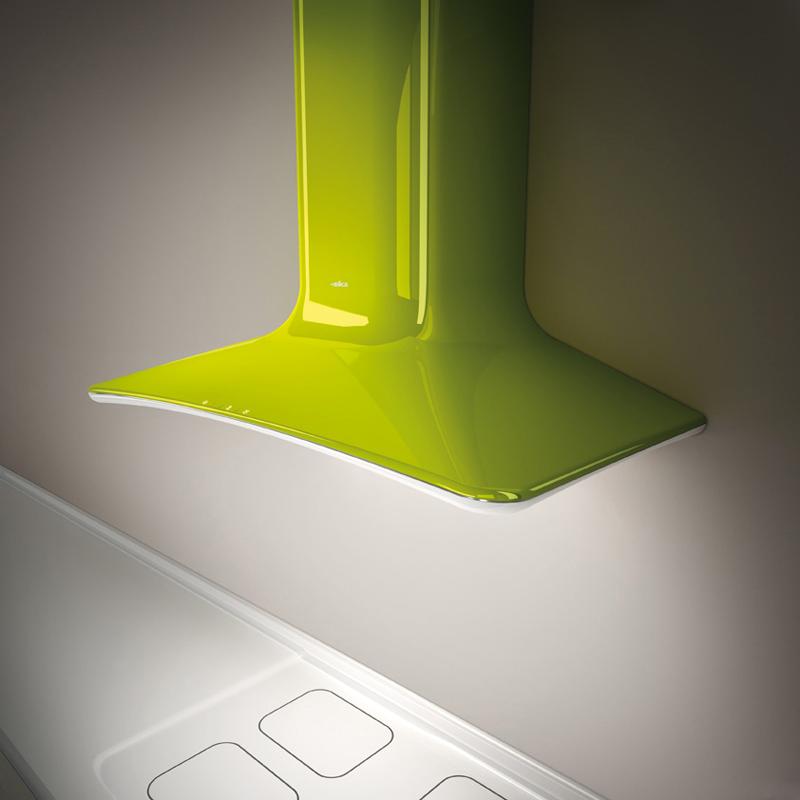 Современные вытяжки для кухни: модель зелёного цвета