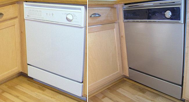 Фотоколлаж: посудомоечная машина до и после окрашивания