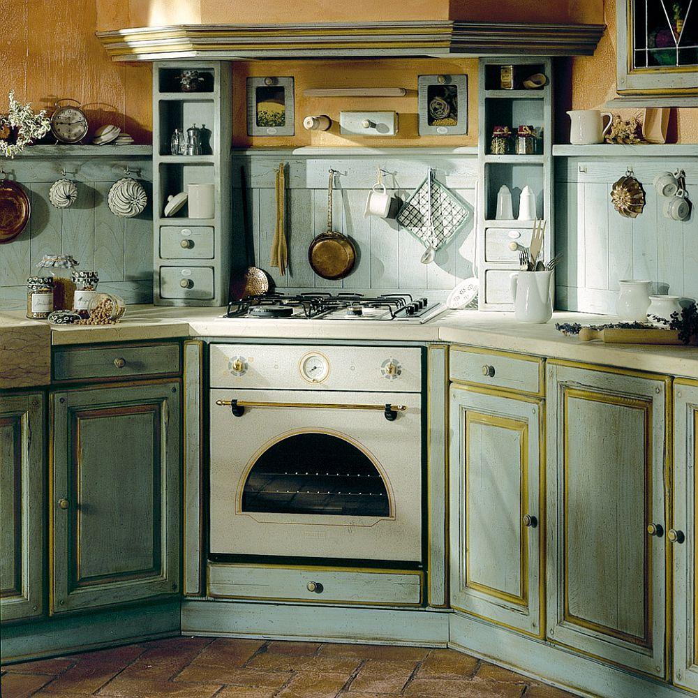 Дизайн кухонного гарнитура в бледно-голубом цвете