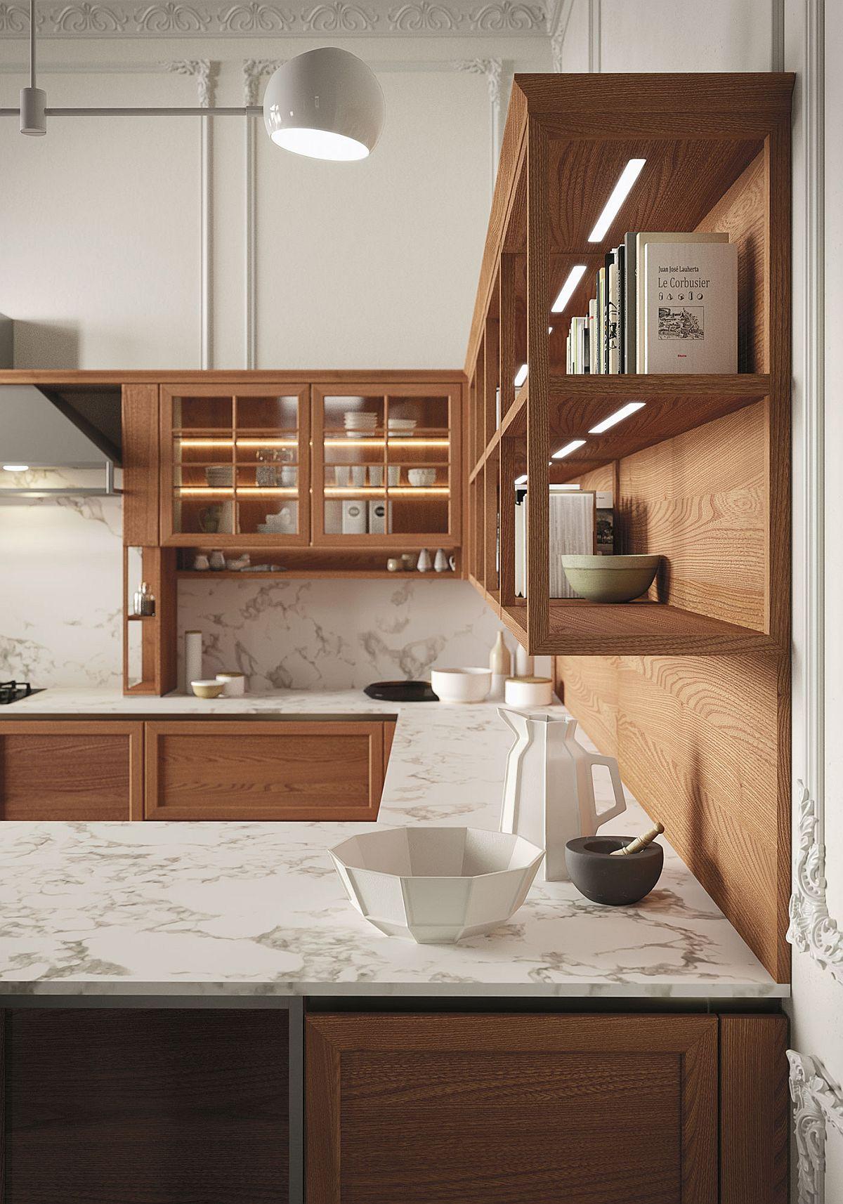 Интерьер современной кухни дополняют элегантные светильники